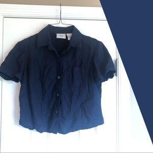 ❀ VTG Navy Boxy Linen Collared Button-Down Shirt